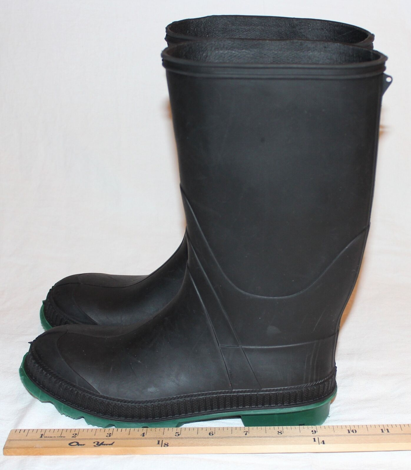 Rubber Boots Black with Green Soles Size 7