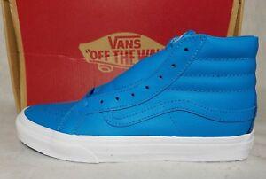 6dab38214a New Vans SK8-HI Slim Neon Leather Blue True White Skate Shoe Women ...