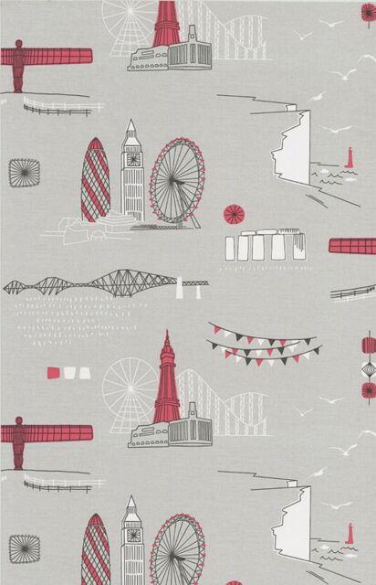 Retro City Landmarks Wallpaper Red Grey Buildings Big Wheel London Motif K2