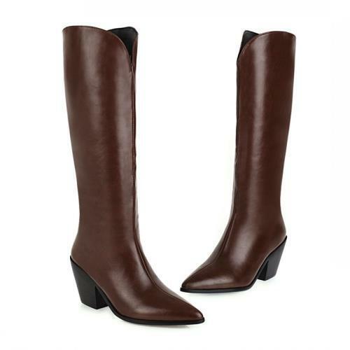 Punk Ladies Knee High Boots Women Block Heel Winter Warm Riding Shoes 46 47 48 D