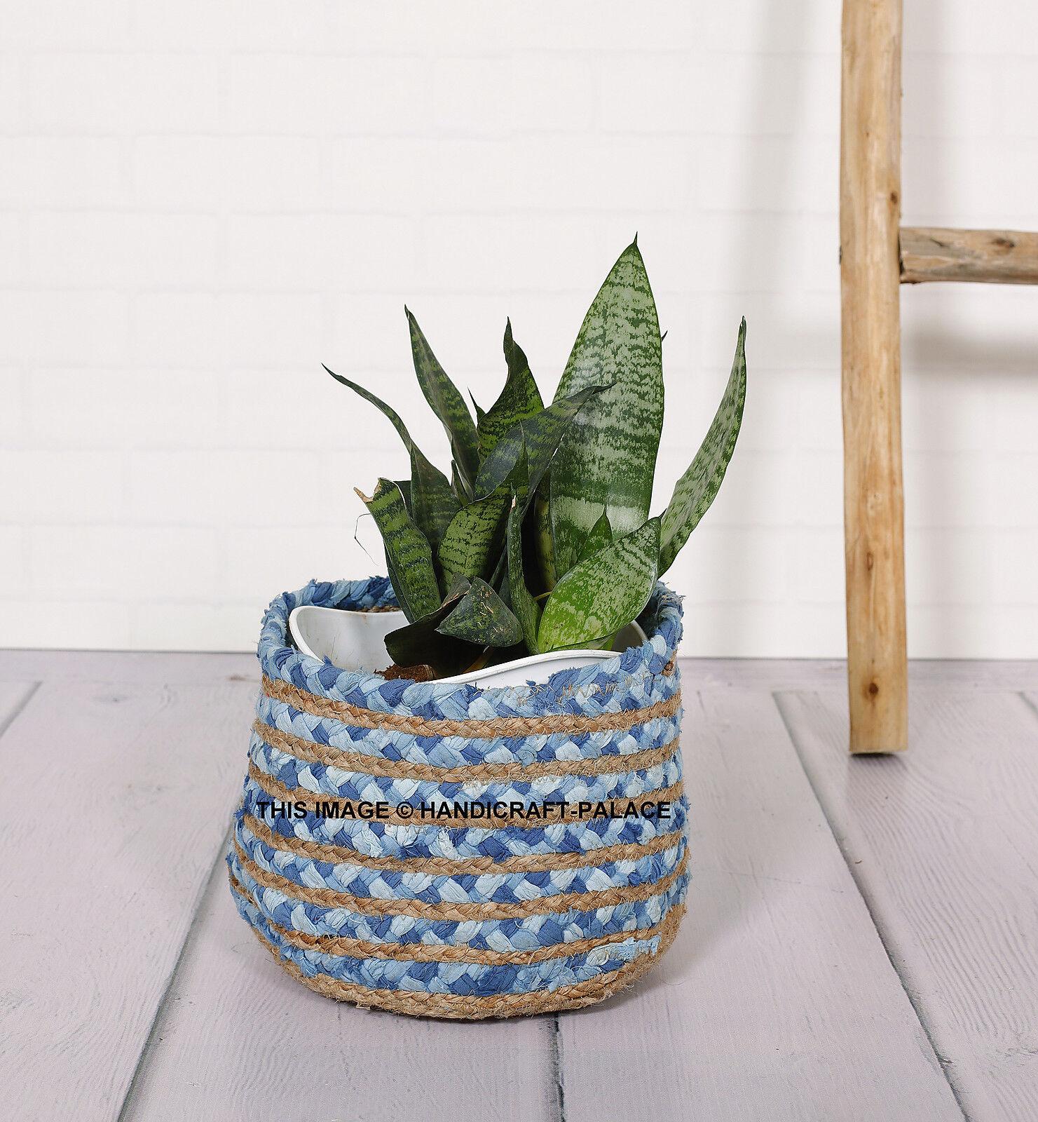 Jute Braided Basket Storage Plant Pot Foldable Nursery Laundry Bag Room Decor