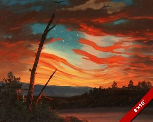 afaf245f84b HEAVEN BORN BANNER AMERICAN FLAG SUNSET TREE OIL PAINTING ON REAL ...