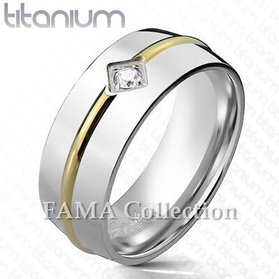 Stainless Steel Comfort Fit Step-Edge Half-Round Band Ring with Clear CZ