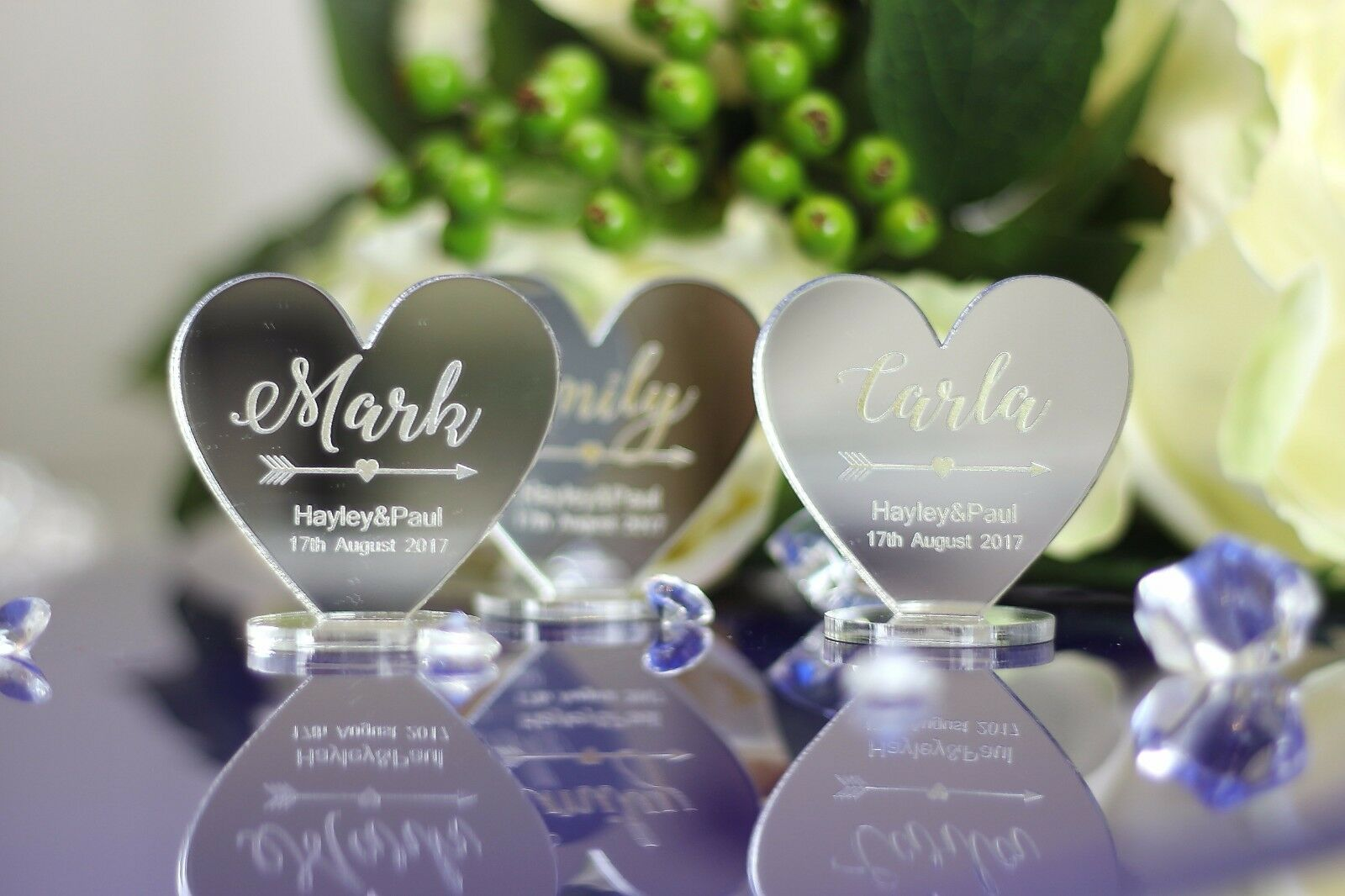 PERSONALISED NAME WEDDING TABLE PLACE HEARTS  Birthday any occation