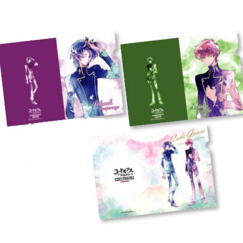 Code Geass Lelouch /& Suzaku Cafe Exclusive Character A4 Clear File Set of 3