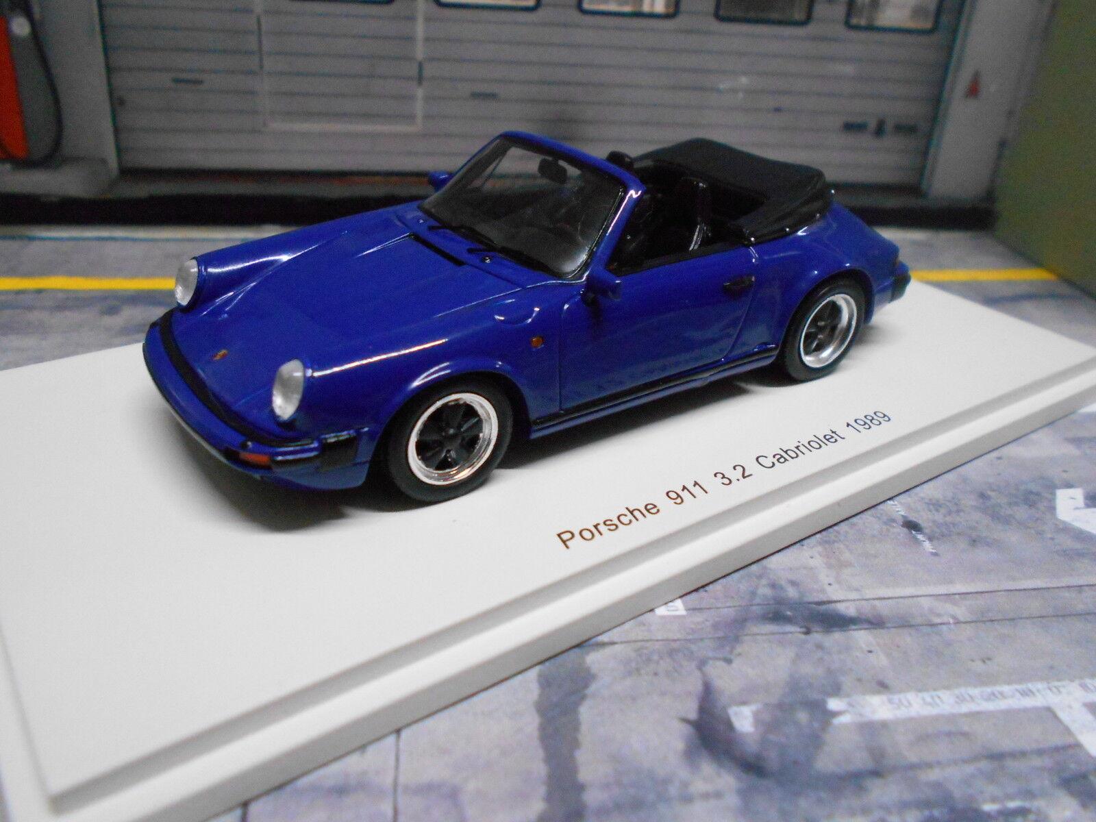 Porsche 911 Carrera 3.2 CABRIOLET CABRIO G-modèle 1989 BLEU BL spark resin 1 43