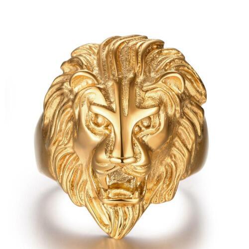 Gold Lion Ring For Men Animal Finger Ring Punk Biker Jewelry Big Size 9 YG