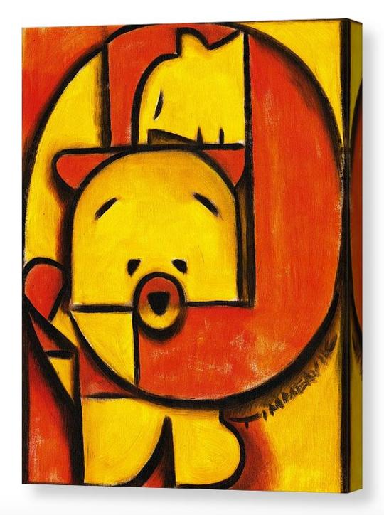 Einzigartige Rot Orange Geometrisch Teddybär Kunstdruck für Verkauf von Künstler