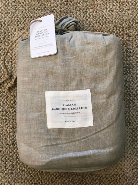 NWT Restoration Hardware ITALIAN BAROQUE MEDALLION Duvet Full//Queen Dune//Fog