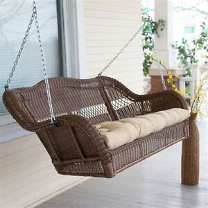 Image Is Loading Walnut Casco Bay Resin Wicker Porch Swing