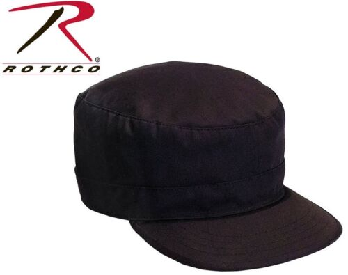Black Military Style Fatigue Hat Patrol Cap Adjustable Rothco 9344