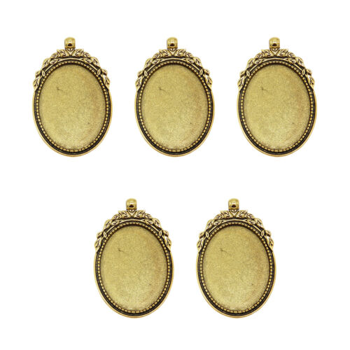 8 Pieces Antique Style Gold Alloy Oval 40x30mm Cameo Setting Pendants 50305