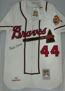 Braves HANK AARON  44 Signed Authentic M N Jersey AUTO - HOF  82 ... fb41bf477