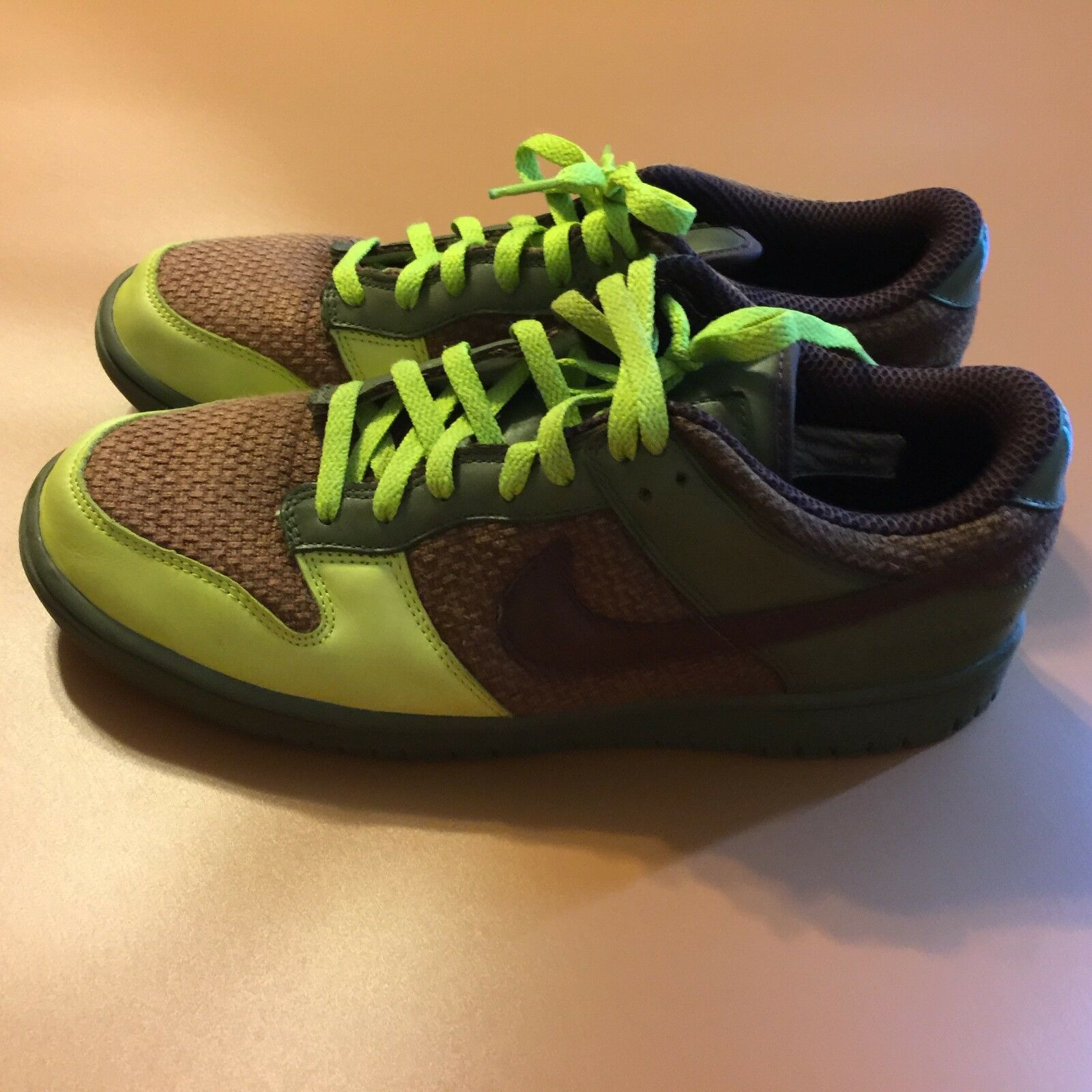 2007 Nike ID Green Brown Sneakers Shoes ILOVEUSAILOR Inscription Mens SZ 11.5