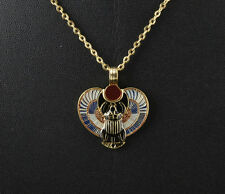 PENDENTIF SCARABEE AILE BLEU PORTE BONHEUR EGYPTE  + CHAINE METAL OFFERTE
