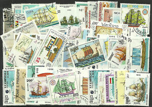 Collection-Packet-of-100-Different-SHIPS-BOATS-Stamps-of-World