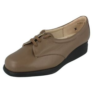 ladies equity taupe leather laces up casual shoes size uk