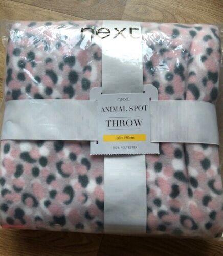 Brand New Next Pink Animal Print Throw Size 130 x 150cm