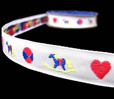 "Grosgrain Colourful Rocking Horse with Flowers Ribbon 7//8/"" 22mm"
