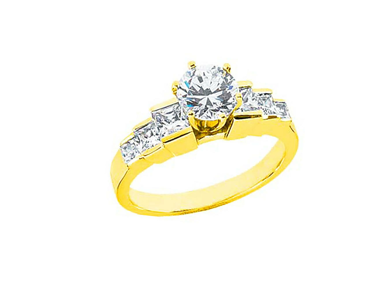 1.30Ct Round Princess Diamond Graduated Diamond Engagement Ring 10k gold GH I1