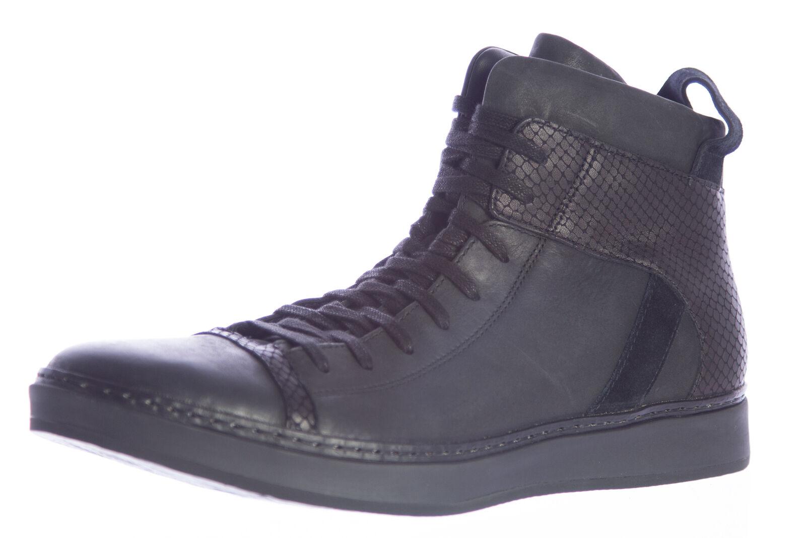 JOHN VARVATOS 315 Men's Black Leather Mac Hi-Top Sneakers F2166P3  498 NEW