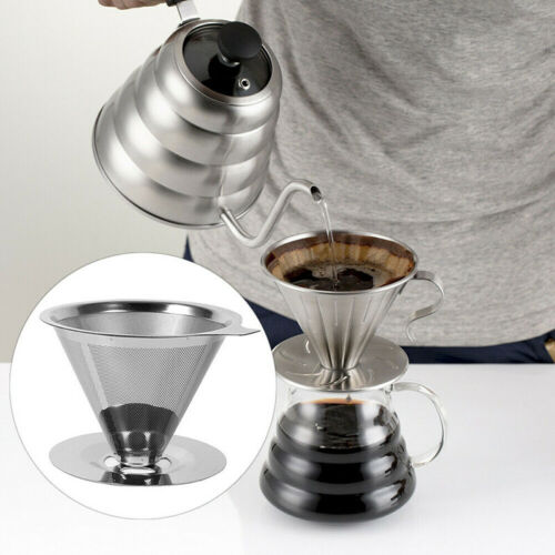 Stainless Steel Reusable Coffee Filter Holder Pour Over Mesh Tea Dripper CuO  WY