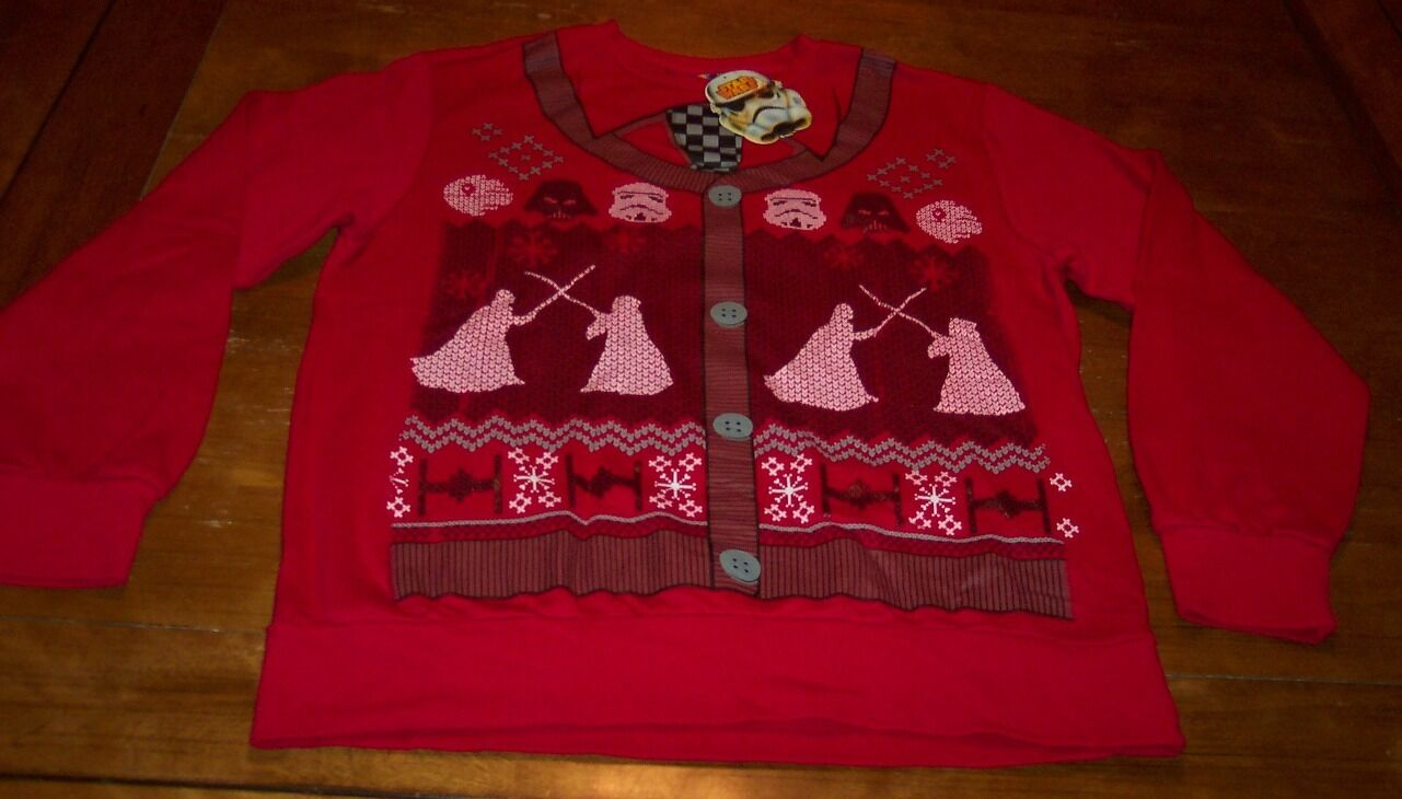STAR WARS Luke Skywalker CHRISTMAS SWEATER STYLE Crew Sweatshirt LARGE NEW