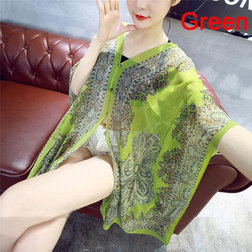 Summer Chiffon Women Blouses Beach Shirts Shawl Flower Scarf Female Tops FloraYJ