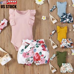 Infant Newborn Baby Girl Romper Top Jumpsuit Shorts Headband Outfits Clothes Set