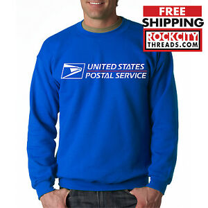 USPS POSTAL ROYAL BLUE CREW NECK Sweatshirt Logo Chest United States Service US