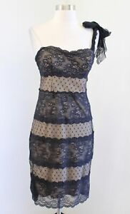 Vtg 90s 00s Betsey Johnson Black Nude Lace One Shoulder Tie Dress Size 6 Sheath