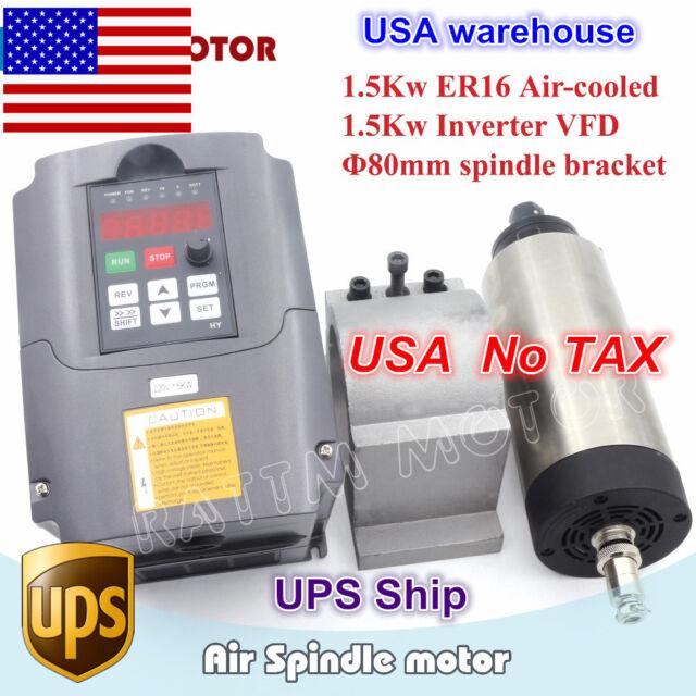 1.5KW AIR-COOLE SPINDLE MOTOR ER16 /& 1.5kw INVERTER VFD FOR CNC TOP