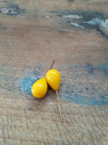 D25 ♥Nr Alte Glasanhänger Tropfen gelb 2 Stück 18 x13 mm♥