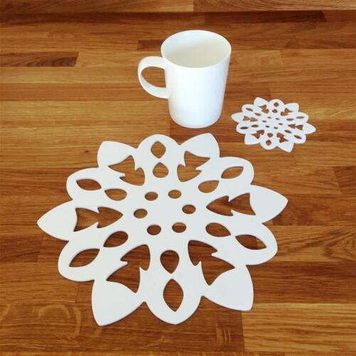 White Gloss Finish Wipe Clean Christmas Snowflake Shaped Placemats /& Coasters