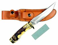Ruko 5-inch Blade Hunting Knife With Delrin Deer Horn Handle And Leather Sheath