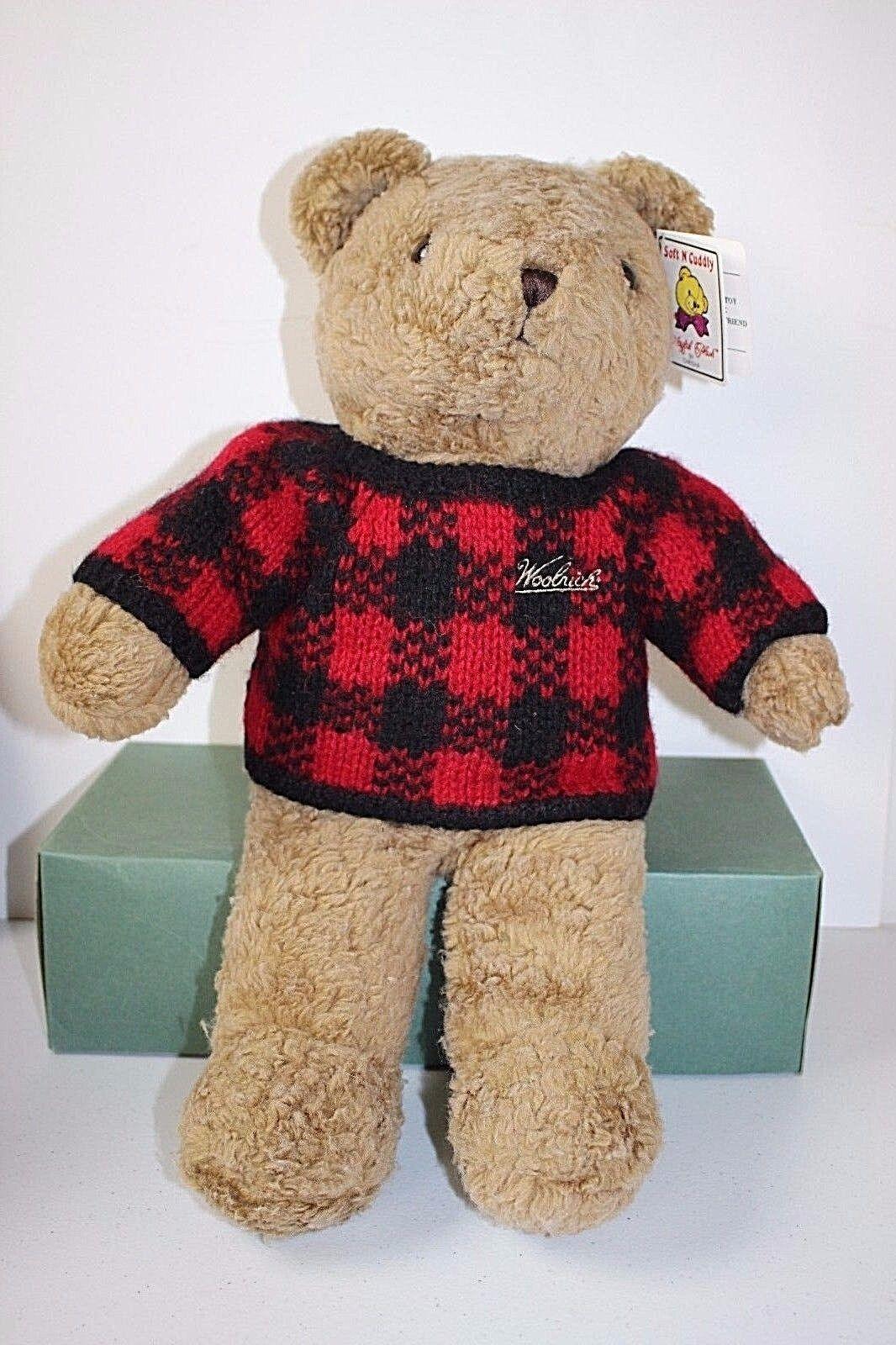 Vintage Woolrich Teddy Bear by Chrisha Playful Plush 1988 Stuffed Animal