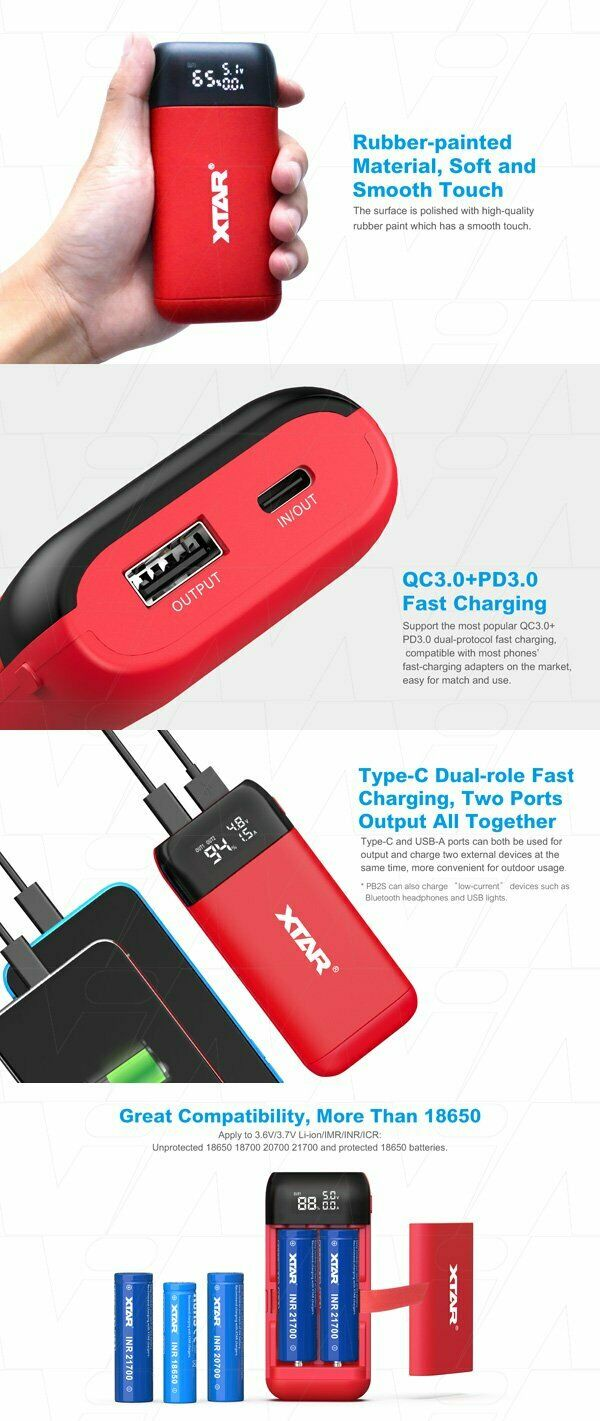 XTAR PB2S Independent Channel 1-2 cell Li-Ion Battery Charger & Powerbank.