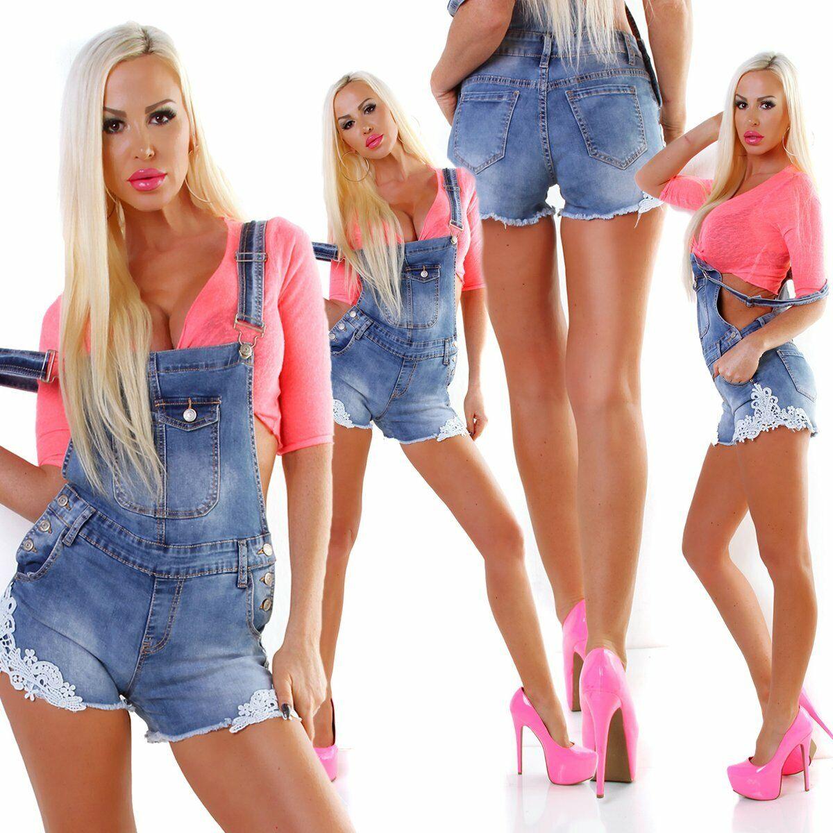 5383 Damen Latzjeans Latzshorts Hotpants Jeans Shorts kurze Hose Spitze Fransen