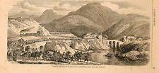 Stampa antica ISOLA del CANTONE Genova panorama con truppe 1859 Old print