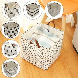 Foldable-Square-Canvas-Storage-Collapsible-Folding-Box-Fabric-Cubes-Toys-Uk
