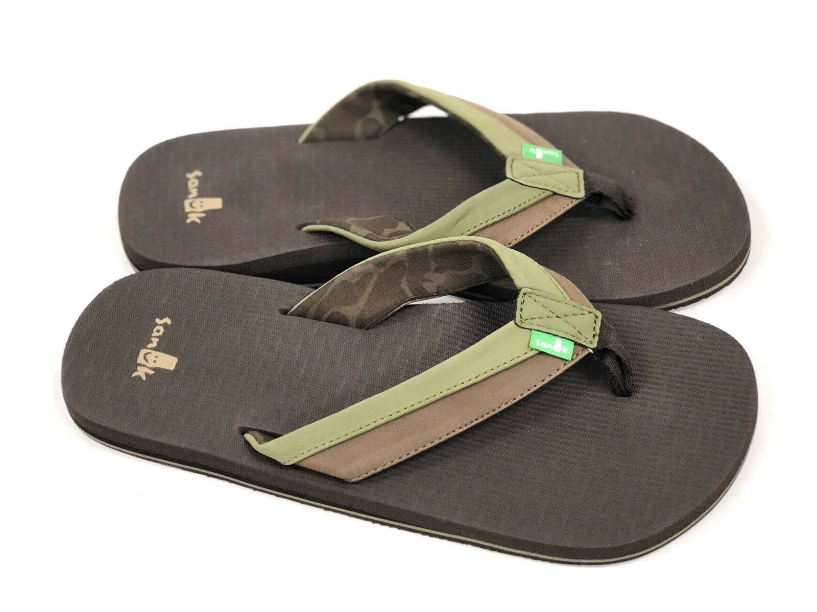 a0791b02f ... Sanuk Mens BEER BEER BEER COZY LIGHT Olive Dark Brown SMS10412 Casual Flip  Flop Sandal ...