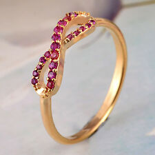 Fashion Women 14K Yellow Gold Filled Ruby Wedding Anniversary Gifts Ring Size 5