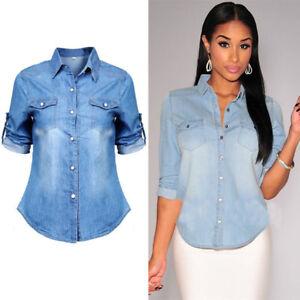 6e8fb8ea US Womens Retro Blue Jean Soft Denim Long Sleeve Casual Shirt Tops ...