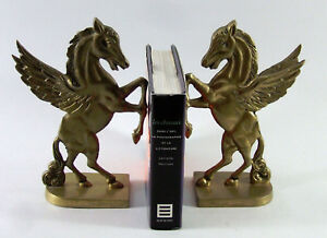 PAIRE-DE-SERRE-LIVRES-laiton-chevaux-ailes-Pegase-horse-book-ends