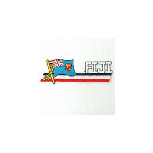 FIJI SIDEKICK WORD COUNTRY FLAG IRON-ON PATCH CREST BADGE 1.5 X 4.5 IN.