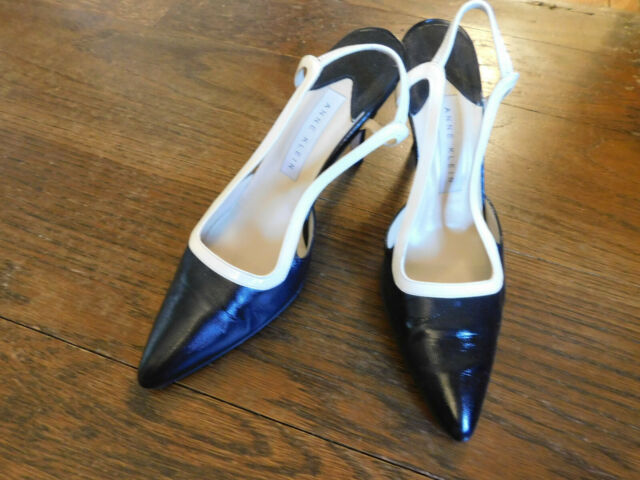 Anne Klein Black Leather White Trim Slingback Pointed Toe Pump 7M Made in Italy