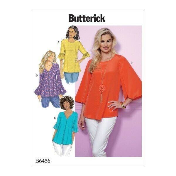 Racional Butterick Sewing Pattern 6456 Misses De Tulipán O Volantes Sleeve Top-ver