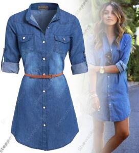 Womens Plus Size 16 - 24 Longline Denim Shirt Dress Ladies Jean ...
