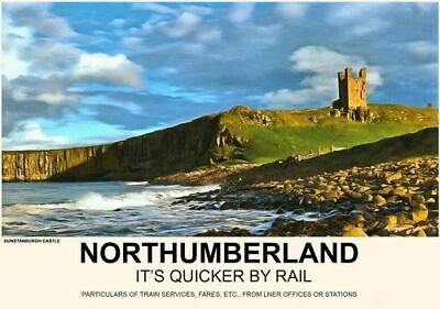 Vintage Style Railway Poster Dunstanburgh Castle Northumberland A4//A3//A2 Print