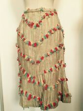 Barry Bricken Skirt Silk Lined Tan/Multi Tulle Bows Size 8
